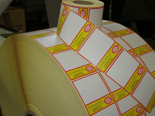 Желтые этикетки с препринтом